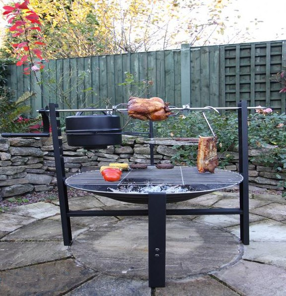 Rotisserie with Fire Pit and BBQ Grill Set