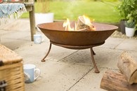 Rusted Cast Iron Fire Pit with Steel Stand