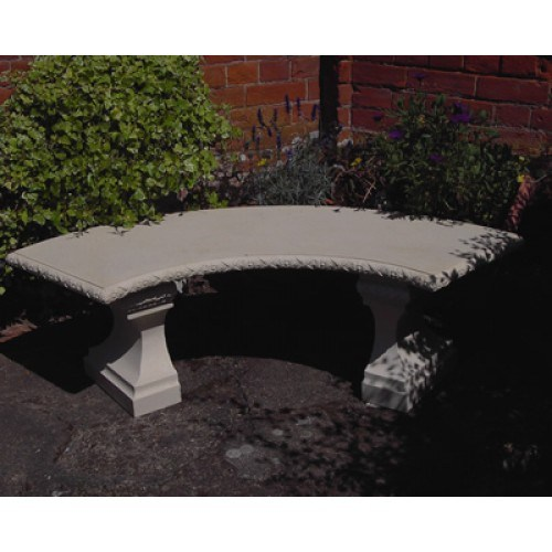 Rustic Classic Curved Stone Garden Bench Natural Cream