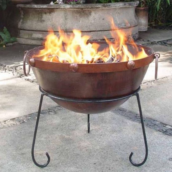 rustic steel fire pit fire bowl fire basket garden
