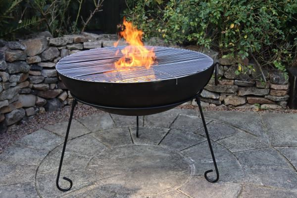 Rustic Steel Firepit with BBQ