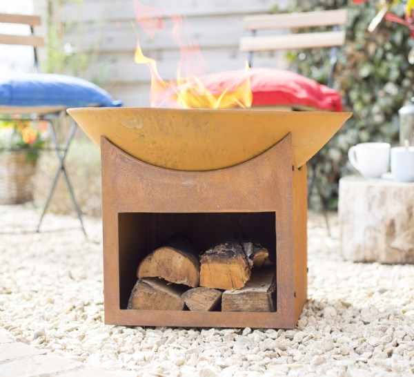 Rusty Shabby Chic Cast Iron Fire Pit With Log Store