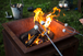 Rusty Shabby Chic Steel Firepit with Log Stand