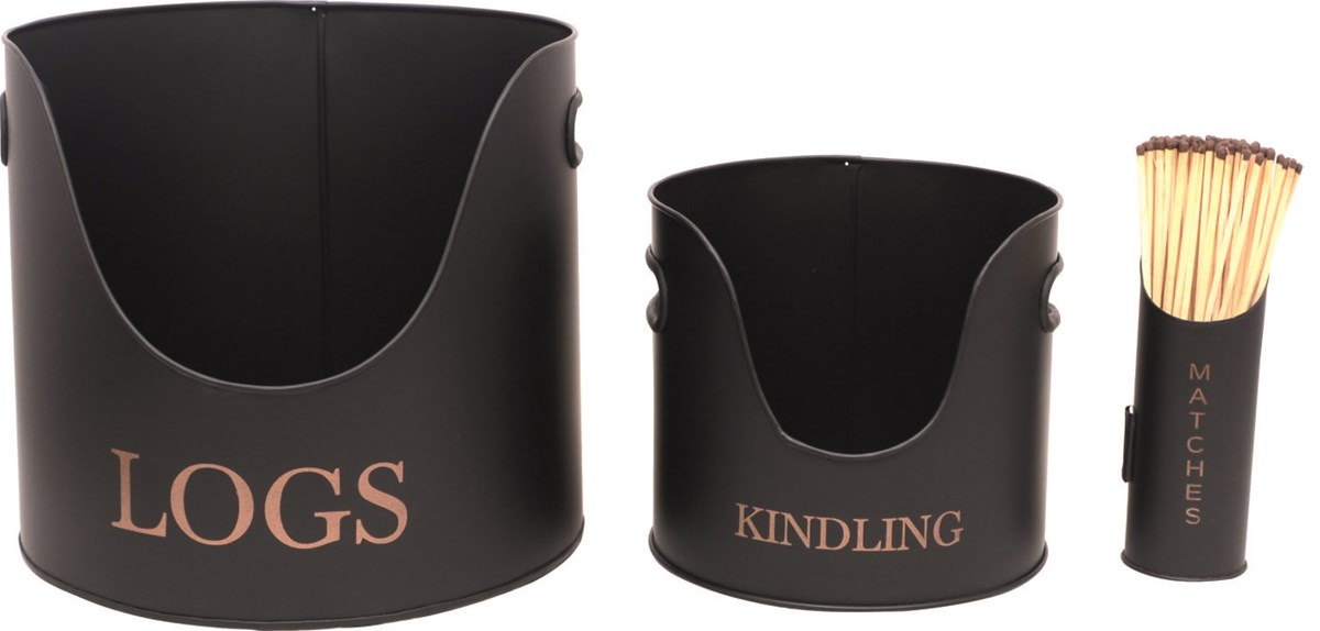 Set of Log Kindling and Matches Holders