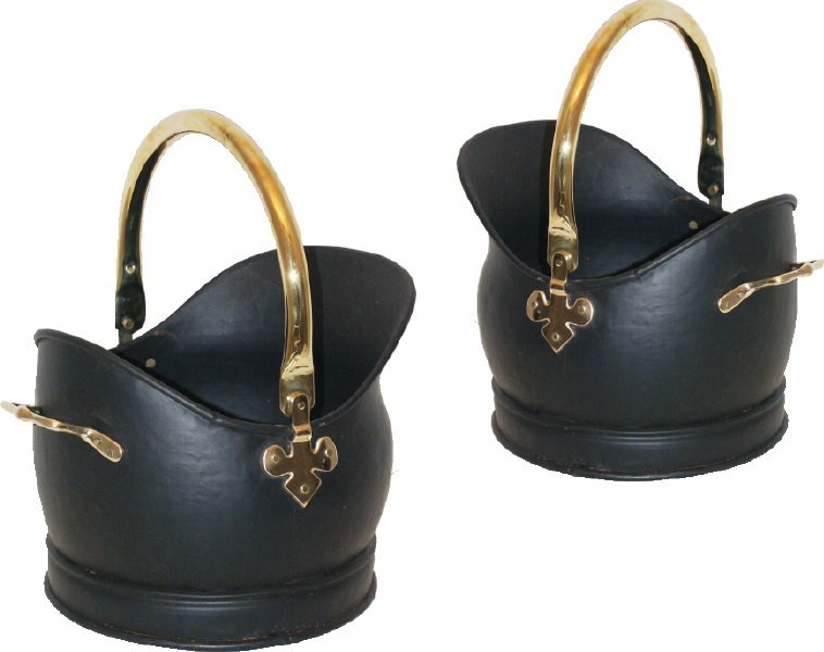 Set of Two Black and Brass Coal Buckets