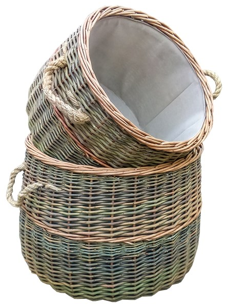 Set of Two Large Fireside Baskets