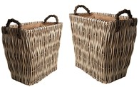 Set of Two Fireside Baskets Lined