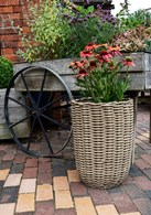 Set of Two Poly Rattan Planters Grey