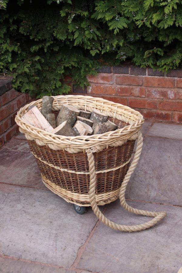 Set Of Two Rope Wicker Baskets On Wheels Savvysurf Co Uk