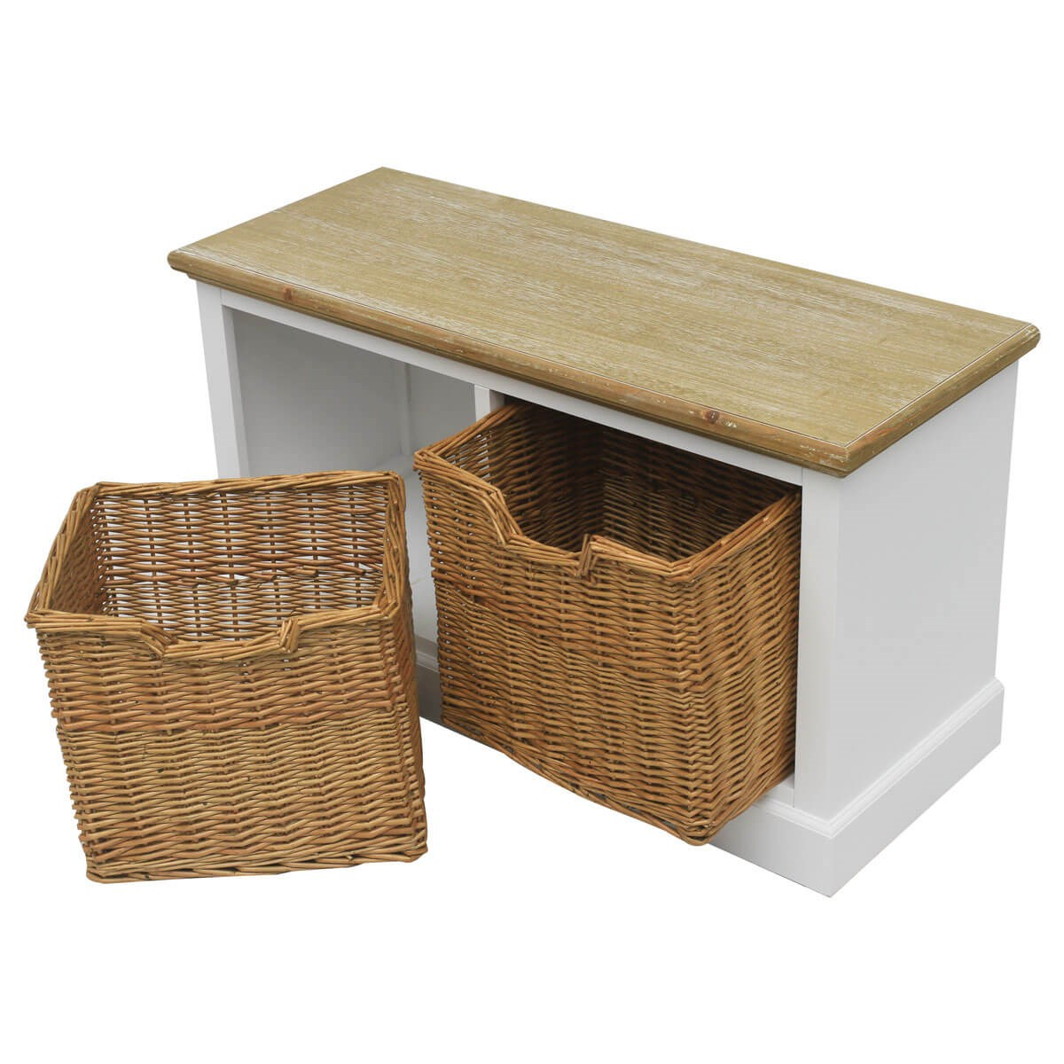 Chic Rattan Coffee Table: Shabby Chic Unit With Wicker Storage Baskets