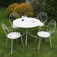 Shabby Chic Heart Bistro Set for Four Cream or Grey