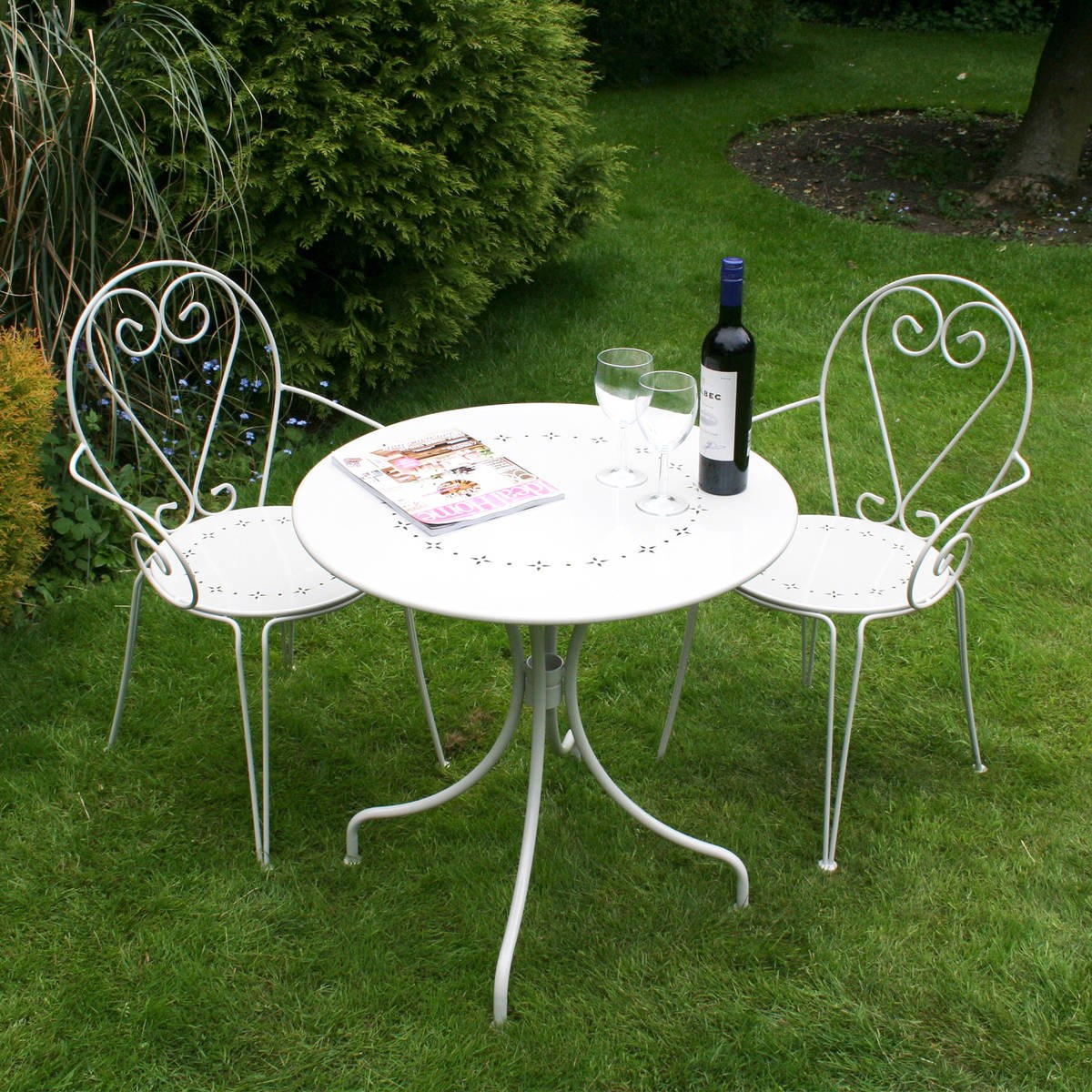 Shabby Chic Heart Bistro Set Grey or Cream