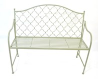 Shabby Chic Metal Garden Bench Green or Grey