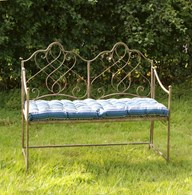 Shabby Chic Metal Garden Bench Two Colours