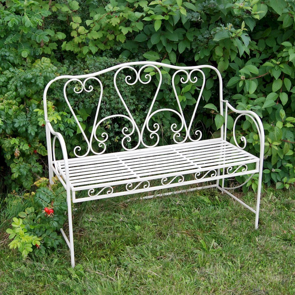 Shabby Chic Metal Garden Bench with Hearts