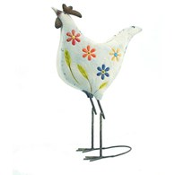 Shabby Chic Metal Hen with Flowers