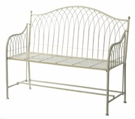Shabby Chic Rustic Garden Bench Steel in Blue or Cream