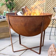 Shabby Chic Rusty Firepit with BBQ Grill