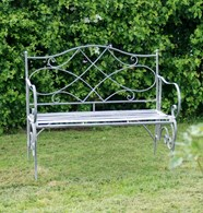 Shabby Chic Steel Grey Garden Bench