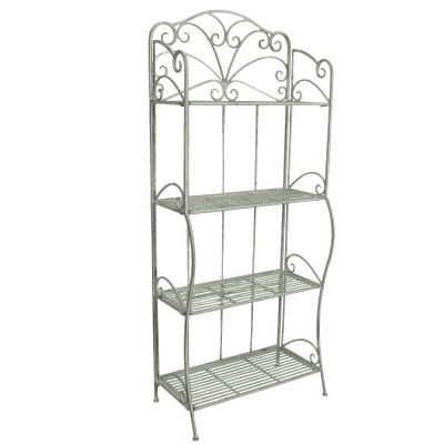 Shabby Chic Vintage Bakers Rack 4 Tier Metal Shelf