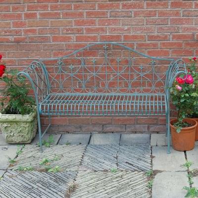 Garden furniture shabby chic metal bench vintage look bench antique blue chair ebay - Garden furniture shabby chic ...