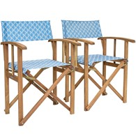 Shell Pattern Folding Chairs Nautical Wooden Chairs Pair