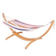 Single Hammock With Wooden Stand 2 Colours