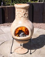 Small Clay Chimenea in Beige with Amigos Design
