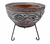 Small Clay Fire Bowl with Stand