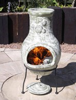 Small Green Clay Chimenea with Stand