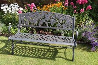 Solid Cast Iron Bench with Grapes Motif