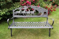Solid Cast Iron Bench with Horses
