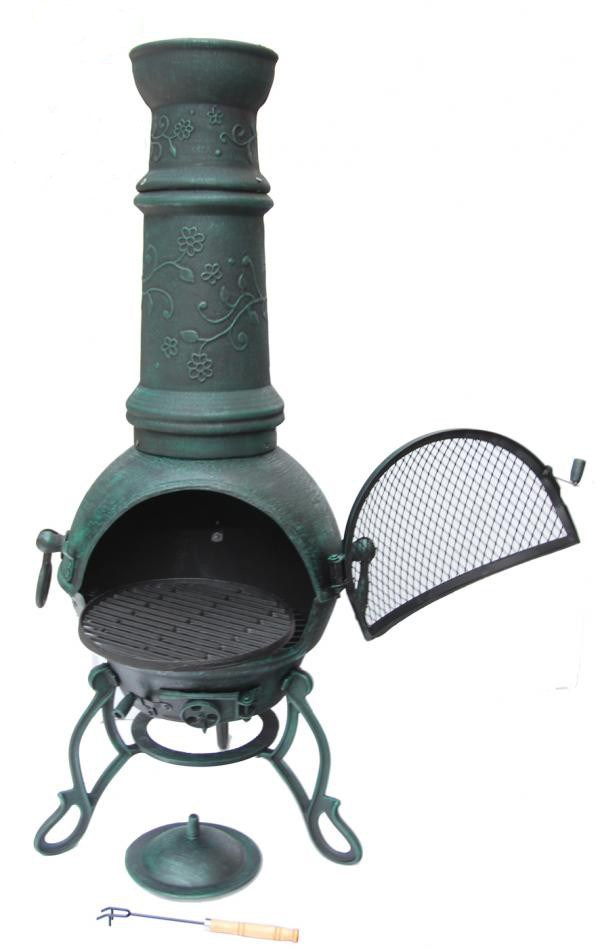 Solid Cast Iron Chimenea in Verdigris