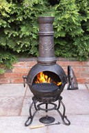 Solid Cast Iron Chimenea and BBQ with Floral Print