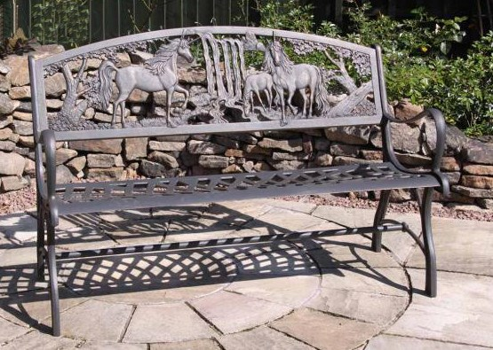Solid Cast Iron Unicorn Bench