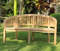 Solid Teak Large Garden Bench Curved
