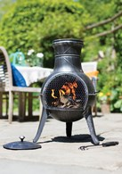 Squat Steel Chimenea in Pewter Finish