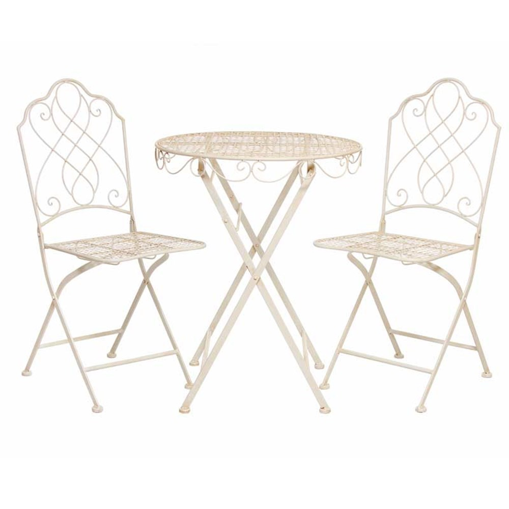 steel bistro set in antique or cream. Black Bedroom Furniture Sets. Home Design Ideas