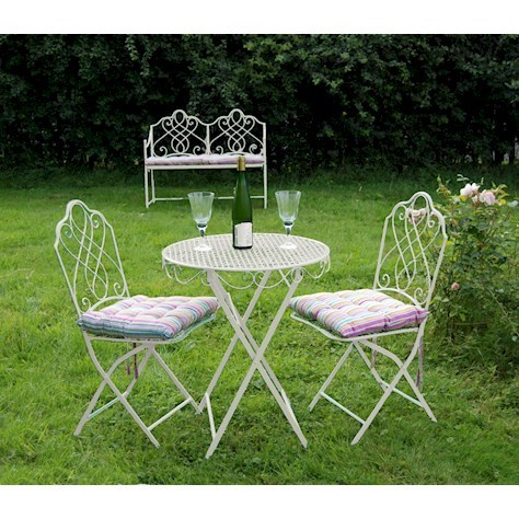 Steel Bistro Set in Antique or Cream
