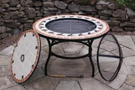 Steel Fire Bowl and BBQ Combined with Table Insert