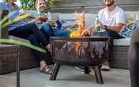Steel Firepit with BBQ Grill