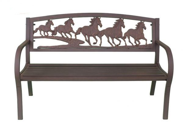Cast Iron And Steel Horse Bench Garden Furniture Metal Bench Horses Outdoor Seat