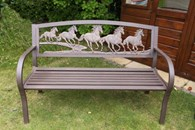 Steel Framed Cast Iron Horse Bench