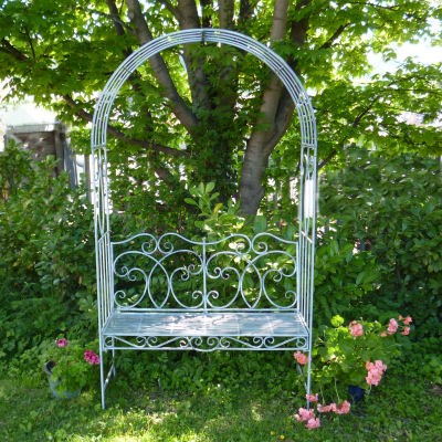 Captivating Steel Garden Arbour With Bench