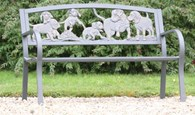 Steel Garden Bench with Cast Iron Dogs