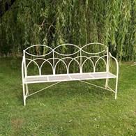 Steel Ornate Garden Bench in Cream