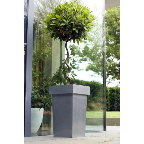 Steel Tall Stackable Plant Pots Black