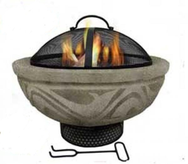 Stone Effect Firepit with Mesh Guard and BBQ Grill