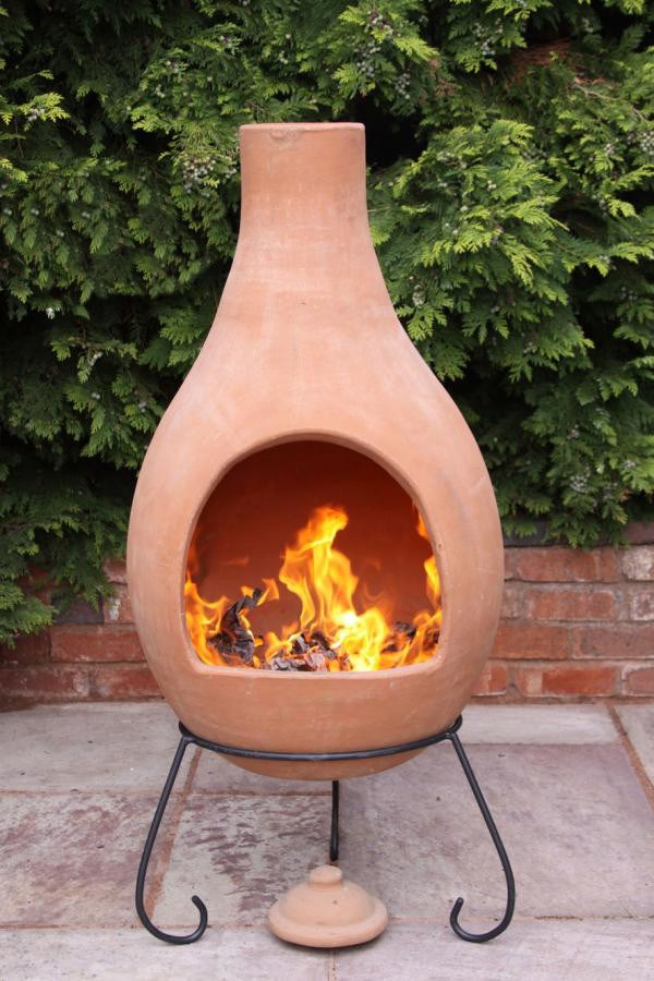 Clay Chimenea Jumbo Terracotta Chiminea Patio Heater Fire