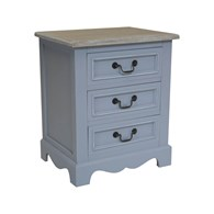 Three Drawer Grey Wooden Bedside Table